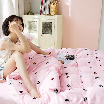 2020新款牛奶绒摩卡系列印花四件套 1.5m床单款四件套 爱心-粉