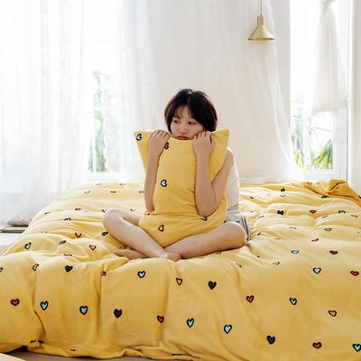 2020新款牛奶绒摩卡系列印花四件套 1.5m床单款四件套 爱心-玉米黄