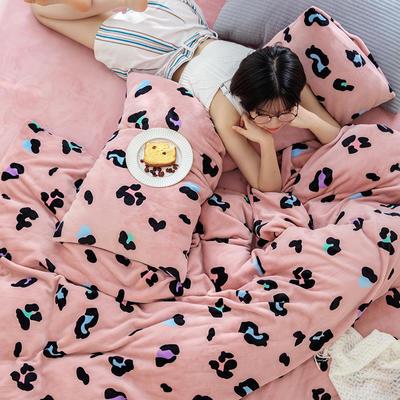 2020新款牛奶绒摩卡系列印花四件套 1.5m床单款四件套 粉色-彩豹
