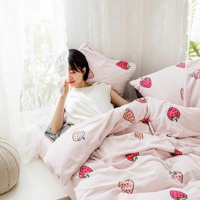 2020新款牛奶绒摩卡系列印花四件套 1.5m床单款四件套 草莓-粉