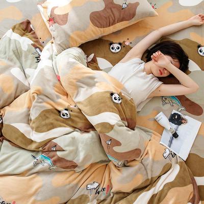 2020新款牛奶绒摩卡系列印花四件套 1.5m床单款四件套 迷彩小熊