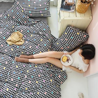 2020新款牛奶绒摩卡系列印花四件套 1.5m床单款四件套 千鸟格