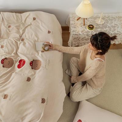2020新款牛奶绒绣花系列四件套--小可爱系列棚拍 1.5m床单款四件套 开心鸭