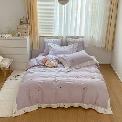 2021新款-40水洗棉四件套 1.2m(4英尺)床 小木马-紫