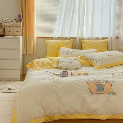 2021新款-40水洗棉四件套 1.2m(4英尺)床 早安熊