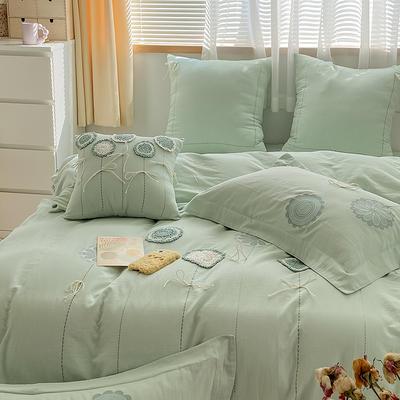 2021新款-A类全棉双层纱布婴儿级四件套 1.5m(5英尺)床 水漾~抹茶绿