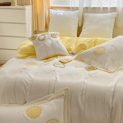 2021新款-A类全棉双层纱布婴儿级四件套 1.5m(5英尺)床 水漾~柠檬黄