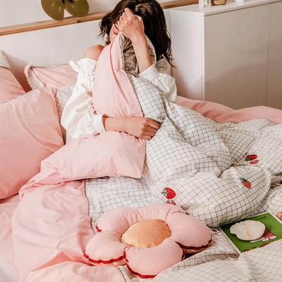 2021新款-40水洗棉四件套 1.5m(5英尺)床 花朵草莓