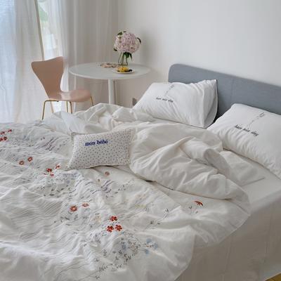 2021新款-40水洗棉四件套 1.5m(5英尺)床 遇见白