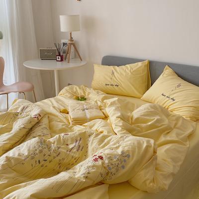 2021新款-40水洗棉四件套 1.5m(5英尺)床 遇见黄色