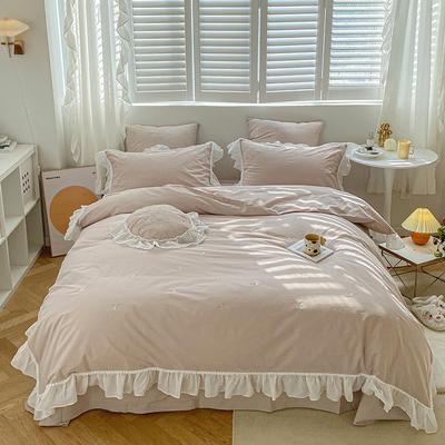 2021新款-40水洗棉四件套 1.8m(6英尺)床 初洛~咖