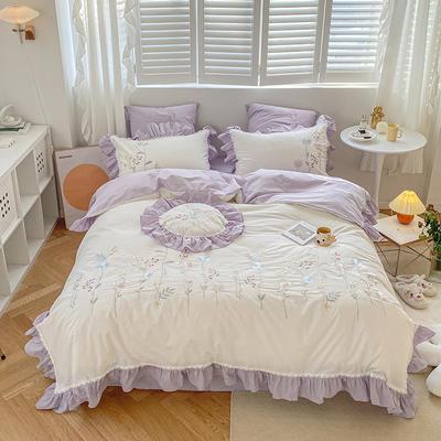 2021新款-40水洗棉四件套 1.8m(6英尺)床 桃汐-紫