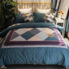 美啦家纺 全棉加厚生态磨毛保暖四件套 条格 1.5m(5英尺)床 梵伦娜