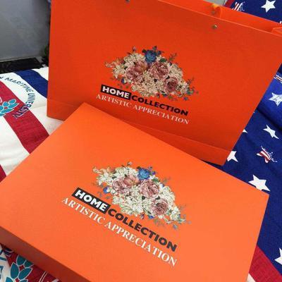 商品礼盒(需加入购物车) 适合活性磨毛、纯棉阳绒、天丝磨毛的尺寸 橘色礼盒包装
