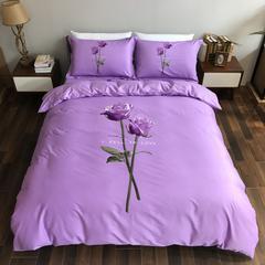全棉活性生态磨毛----玫瑰的爱恋  紫 200*230 磨毛