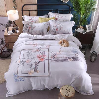 60天丝印花系列四件套 2.2m(7英尺)床 浮生若梦