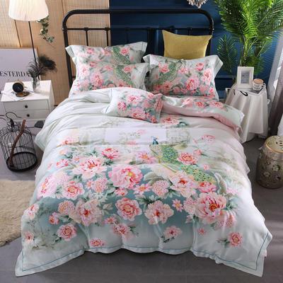60天丝印花系列四件套 2.2m(7英尺)床 红袖添香