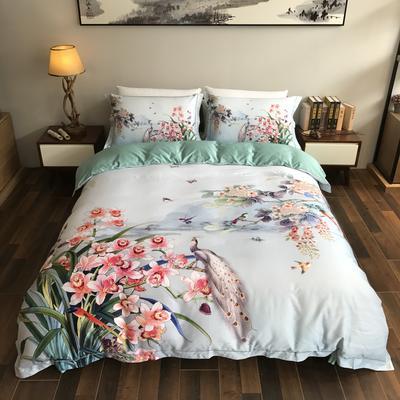 80海岛棉数码印花四件套 1.8m(6英尺)床 半壶纱