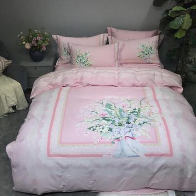 秋冬新品生态磨毛系列 2.2m(7英尺)床 铃兰花语-粉