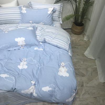 磨毛三件套 1.5m(5英尺)床 悠悠时光-蓝