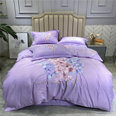 2020秋冬新品全棉磨毛系列 2.2m(7英尺)床 风情万种-紫