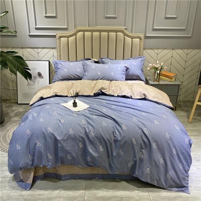 2020秋冬新品全棉磨毛系列 2.2m(7英尺)床 怀特之约-蓝