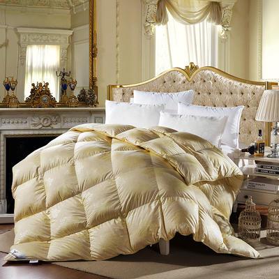 柔赛丝印花 金色  鹅绒被/羽绒被 200X230cm 90%白鸭绒  金色