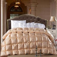 真丝棉面包格  土豪金  鹅绒被/羽绒被 200X230cm 顶级串串白鹅绒  土豪金