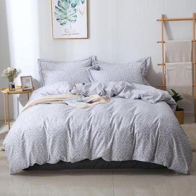 2020新款13372全棉印花四件套 1.2m床单款三件套 花语-灰