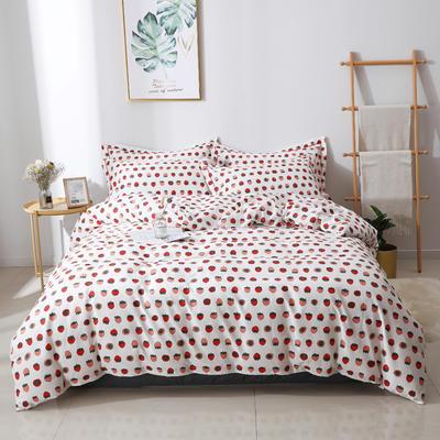 2020新款13372全棉印花四件套 1.2m床单款三件套 小草莓