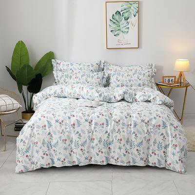 2020新款13372全棉印花四件套八月新款 1.2m床单款三件套 紫薇