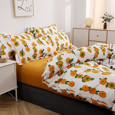 2021新款13372全棉系列四件套-5月新款 1.5m床单款四件套 ''柿柿''如意