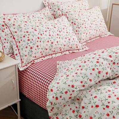 2021新款13372全棉系列四件套-5月新款 1.5m床单款四件套 粉诺