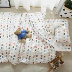 婴童床品套件   针织印花三件套 被套120*150 跳舞猫