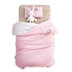 婴童床品套件 针织棉无印系列多件套 被套120*150 粉色(五件套)