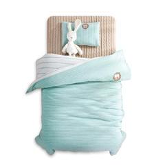 婴童床品套件 针织棉无印系列多件套 被套120*150 绿色(被套+枕套)