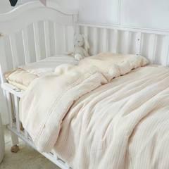 幼儿园天然彩棉双层纱布多件套 被套110*130 床垫套60*120 彩棉横条(三件套)
