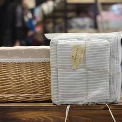 全棉纱布浴巾二件套-海军条纹 毛巾35*75 浴巾70*140 抹茶色