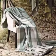 无印良品盖被一面纱布一面毛圈-大格 140*190 无印大格-绿