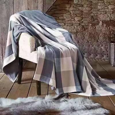 无印良品盖被一面纱布一面毛圈-大格 140*190 无印大格-蓝色