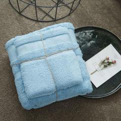 长绒棉浴巾2件套 蓝色