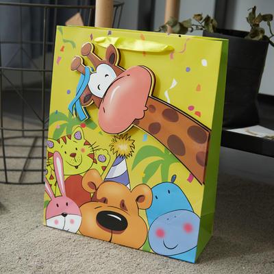 卡通3D立体手拎袋 长18*宽8*高24cm小号 黄色长颈鹿