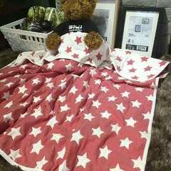 80支六层纱布童被 110*110 红色星星