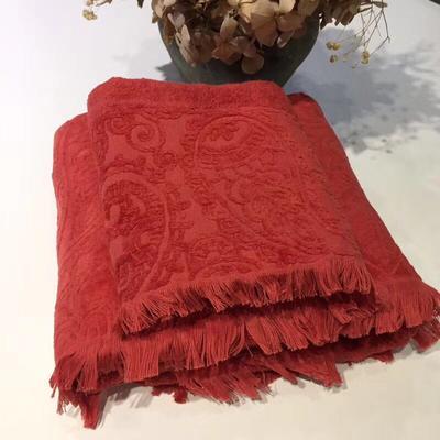 复古流苏浴巾2件套 红色+白金礼盒装