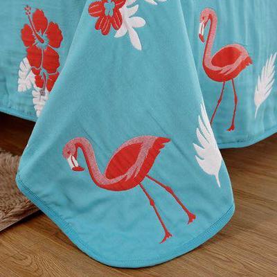 六层纱布火烈鸟盖被 150x200cm 橘色