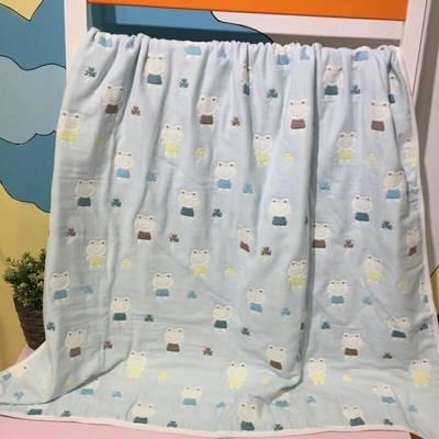 毛巾绣童被--青蛙 110x110cm 蓝色