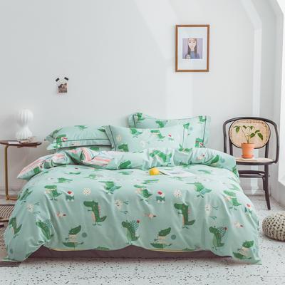 2019新款全棉四件套第三批 小号1.2m床 漫趣-绿