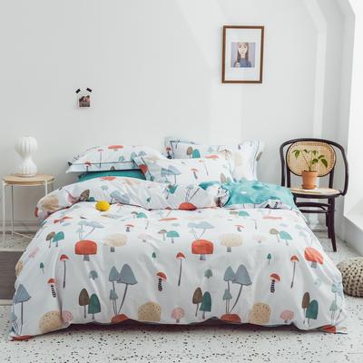 2019新款全棉四件套第三批 标准1.5m床 蘑菇派对-白