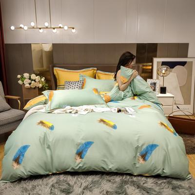 2020新款床单款床笠款四件套套件系列 1.8m床单款四件套 飘羽 绿