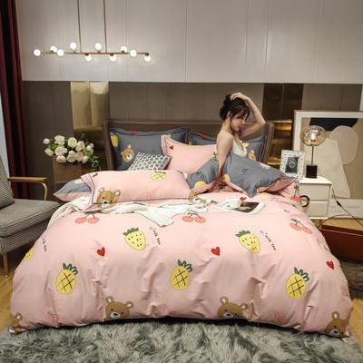 2020新款床单款床笠款四件套套件系列 2.0m床单款四件套 熊二粉